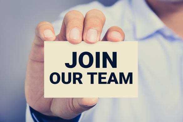 JOIN OUR TEAM, message on the card