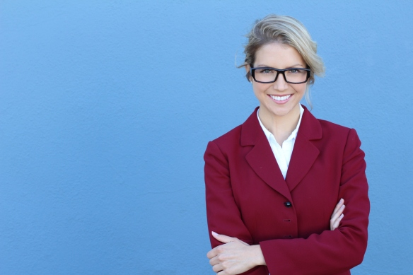 Businesswoman in glasses with PERFECT SMILE